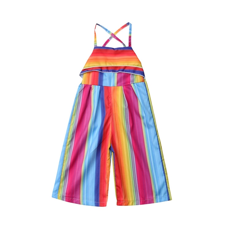 New Arrivels Colorful Striped Toddler Kid Baby Girls Romper Harem Pants Jumpsuit Outfit Summer Clothes