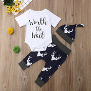 Focusnorm New Casual Newborn Baby Boy Girl Clothes Set Short Sleeve Romper Suit 3PCS Summer Tops+Long Pants Hat Outfits 0-18M