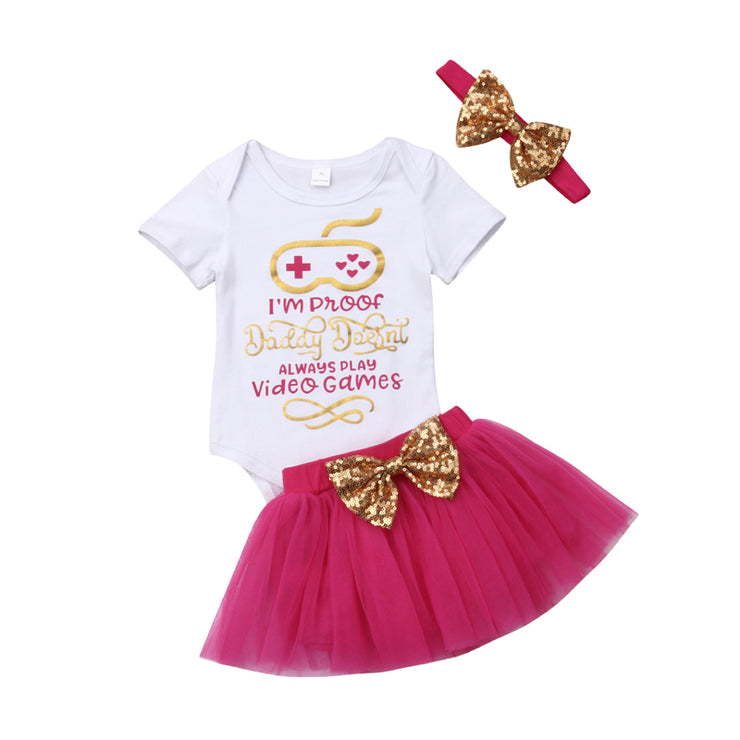 Focusnorm New Fashion Newborn Baby Girls Clothes Set Print Letter Romper Tutu Skirt Headband Outfits Clothes