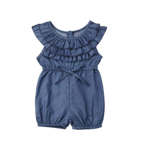 Toddler Kids Baby Girl Clothes Princess Ruffle Denim Romper Sleeveless Casual Jumpsuit Outfits Clothes Baby Girls 6M-4T