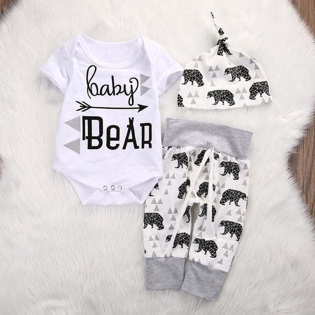 New Casual Newborn Girls Boy Clothes Print Baby Bear Romper Jumpsuit Pants Hat 3pcs Outfits Set Costume