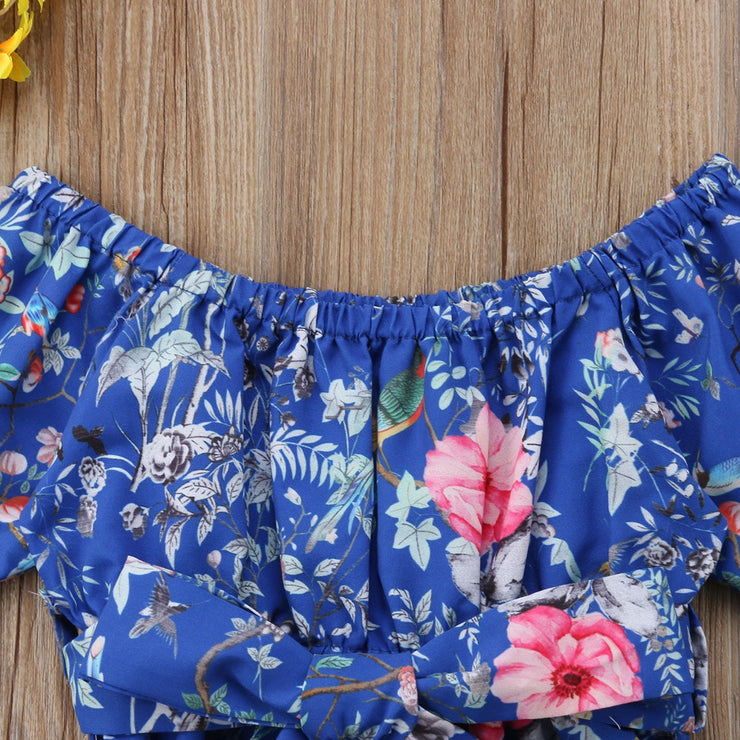Cute Toddler Baby Girl Clothing Romper Floral Short Sleeve Belt Bow Jumpsuit Sunsuit Summer Clothes Girls 6M-5T