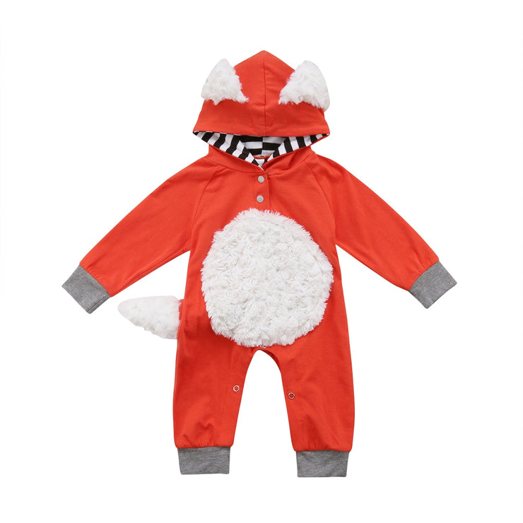 Newborn Kids Baby Boys Girls Clothing Cute Animals Costume Hooded Romper Jumpsuit Warm Cute Playsuit Clothes Baby 0-24M