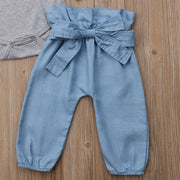 FOCUSNORM Newborn Baby Girl Clothing Fly Sleeve Tops Romper Bowknot Denim Pants 3Pcs Outfit Clothes