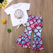 Newest Fashion Toddler Baby Girl Summer Clothes Shell Print T-Shirt Mermaid Flared Pants 2pcs Outfits Sunsuit