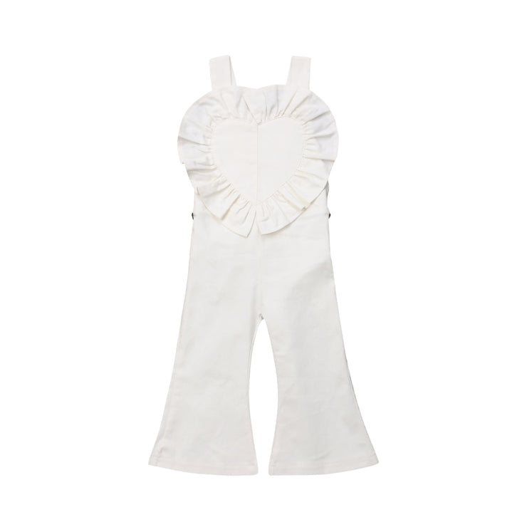 Princess Girls Long Bib Pants Bell Bottoms Romper Sleeveless Backless Casual Jumpsuit Clothes Outfits Girl 1-6T
