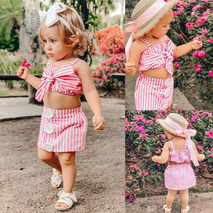 Baby Girl Clothes Summer Stirped Crop Top Vest+Short Skirt+headband 3pcs Outfits Clothes