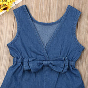 2019 New Brief Kids Baby Girls Clothes Denim Romper Sleeveless V-Neck Shorts Playsuits Solid Summer Child Girl Bow Sunsuits 1-6Y