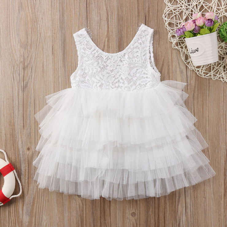 Pudcoco Newest Fashion Toddler Baby Girl Clothes Sleeveless Lace Flower Tulle Dress Party Pageant Formal Tutu Dress