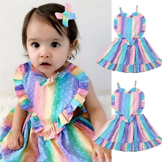 Botique Kids Baby Girl Rainbow Dots Sundress Baby Girl Sling Ruffle Dress A-Line Heart-Shaped Strap Backless Dress for Girl 1-5Y