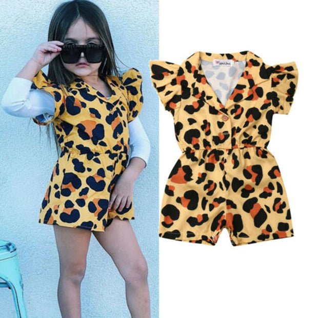 Focusnorm Summer Kids Baby Girl Clothes Ruffle Leopard Romper Off Shoulder Jumpsuit Outfit Sunsuit 1-5Y