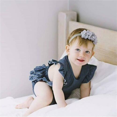 baby girl clothes Toddler Baby Girl Denim Ruffle Romper Bodysuit Jumpsuit Sunsuit Outfit Summer cool clothing set 2pcs 0-24M