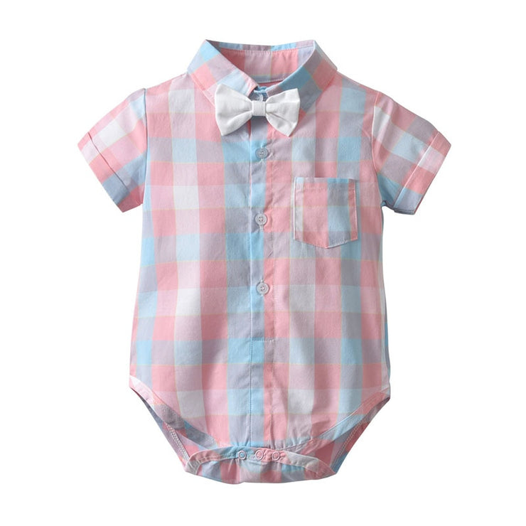 Focusnorm 2pcs Toddler Kids Baby Boy 1-4Y Gentleman Outfit Clothes Pink Plaid Short Sleeve Romper Top+Shorts Summer Clothes Set