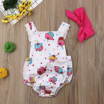Baby Girl Clothes Ice Cream Print Sleeveless Bodysuit Headband 2pcs Outfit Clothes Sunsuit