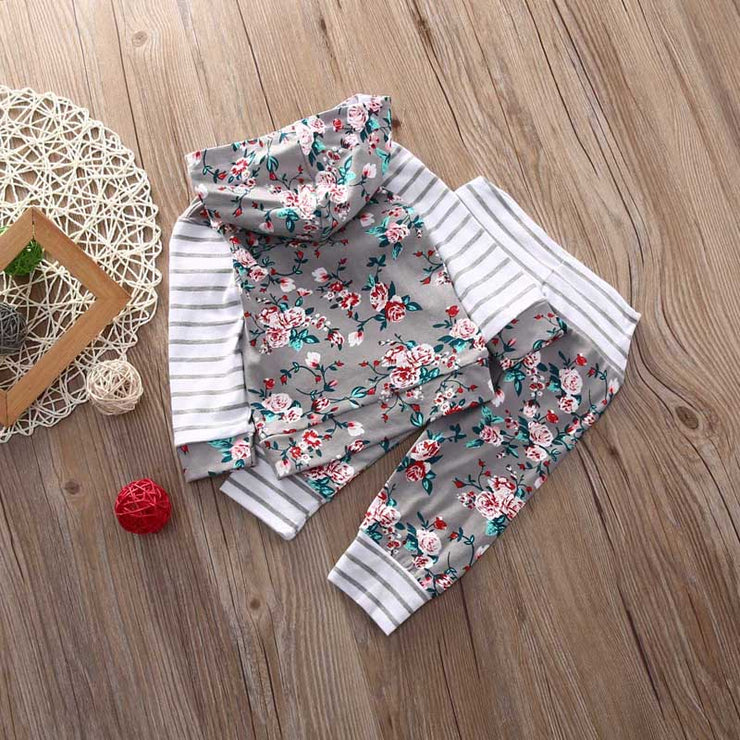 2Pcs New Fashion  Baby Girl Clothes Floral Striped  Hooded Tops Pants Harem Outfits Set Clothes US Stock