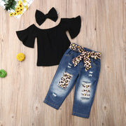 Focusnorm 3PCS Toddler Baby Girls Clothes Crop Tops T-Shirt +Ripped Denim Pants Summer Clothes For Kids Girl 1-6T
