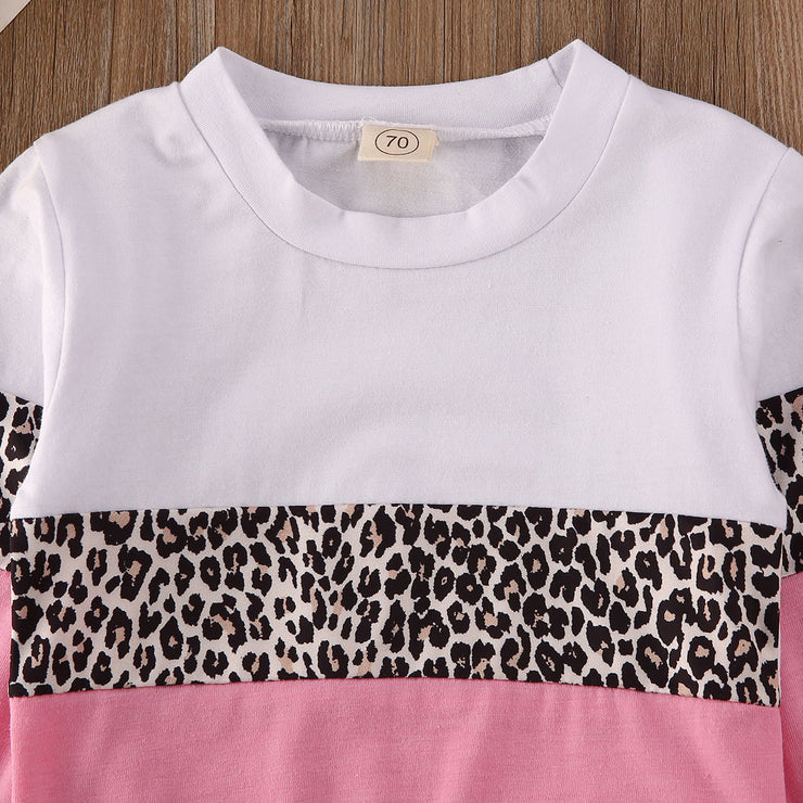 Pudcoco Toddler Baby Girl Clothes Leoprad Print Patchwork T-Shirt Tops Long Pants 2Pcs Outfits Cotton Clothes Sweatshirts Set
