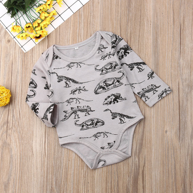 Pudcoco Newborn Baby Boy Girl Clothes Long Sleeve Cartoon Dinosaur Print Romper Jumpsuit One-Piece Outfit Autumn Clothes