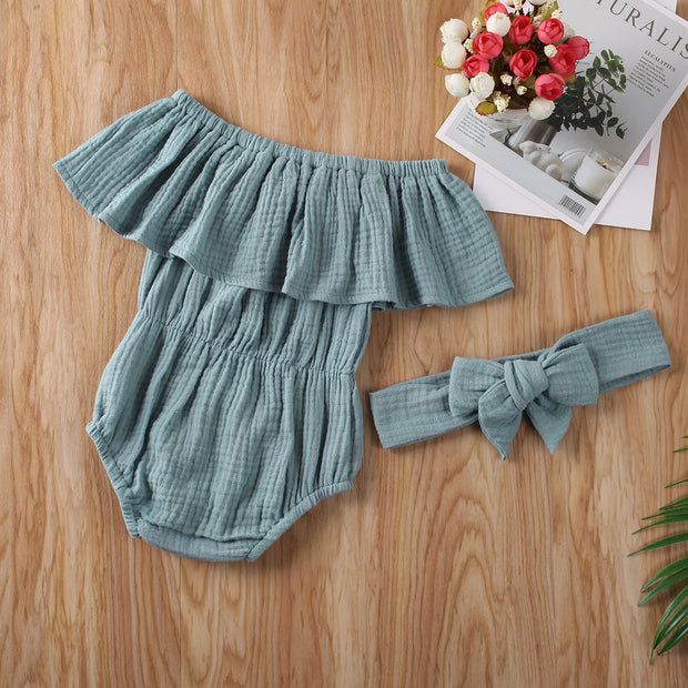 New 2Pcs Infant Kids Baby Girls Ruffles Romper Jumpsuit+Headband Outfit Playsuit Summer Clothes Set