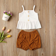 New Summer Toddler Baby Girl Clothes Strap Dress Tops Shorts Pants 2PCS Outfits