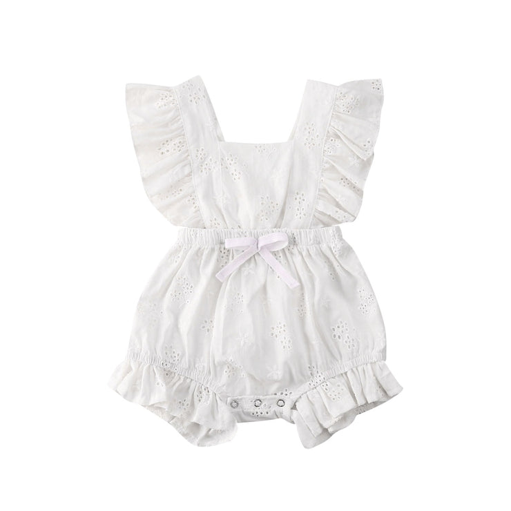 Focusnorm Fast Shipping Toddler Baby Girl Lace Bodysuit Rompers Solid Lace Flowers Ruffles Short Sleeve Jumpsuits Summer Outfits