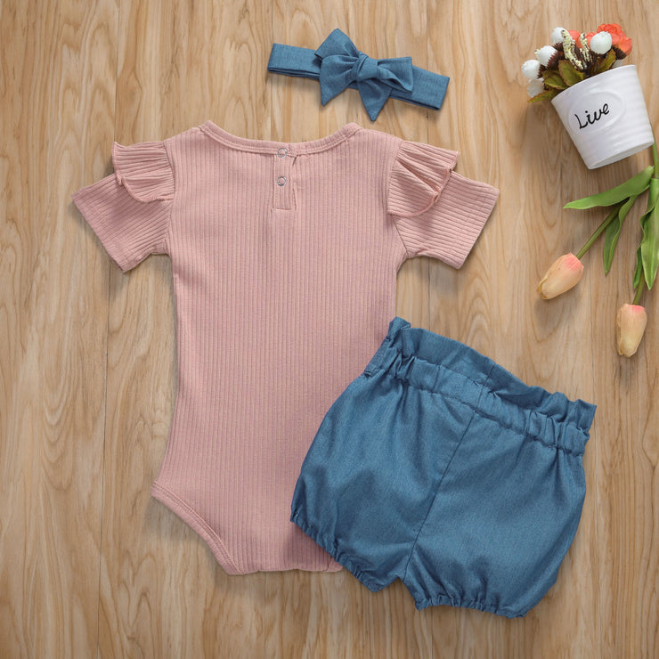 New Toddler Baby Girl Sunsuit Clothes Tops Romper Bodysuit + Pants + Headband Set