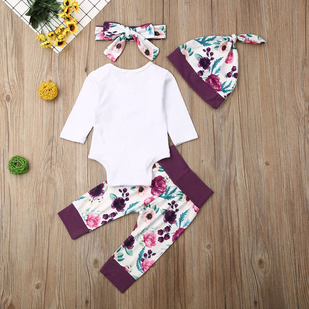Focusnorm 4PCS Newborn Infant Baby Girl Romper Tops Pants Headband Hat Autumn Clothes Outfits Set