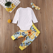 Pudcoco Newborn Baby Girl Clothes Letter Long Sleeve Romper Tops Flower Print Long Pants Headband 3Pcs Outfits Cotton Clothes