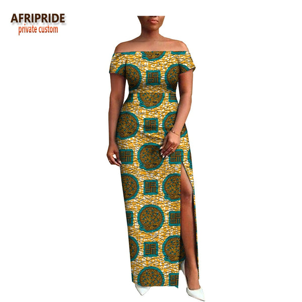 African Print Short Sleeve Maxi Dress