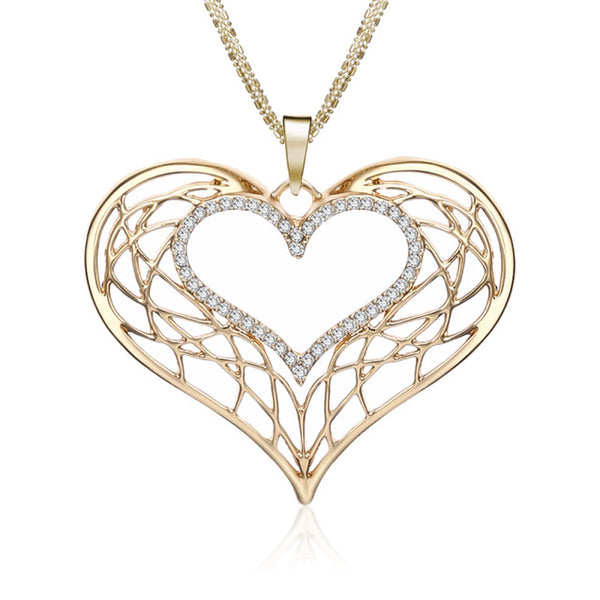 Big Heart Necklaces For Women Silver Rose Color Hollow Statement Jewelry Long Necklaces & Pendants collares grandes de moda 2019
