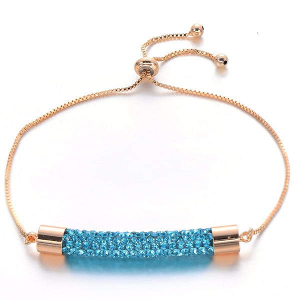 2019 Newest Charm Multicolor Crystal Bracelets Bangles For Women Femme Wedding Jewelry Adjustable Gold Chain Bracelet Gift