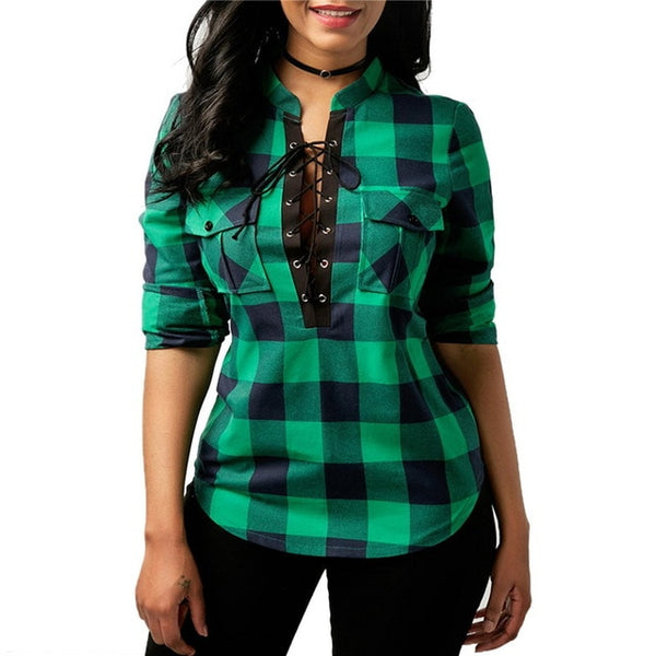 LASPERAL Women Plaid Shirt 2019 Spring Long Sleeve Blouses Shirt Office Lady Cotton Lace Up Tunic Casual Top Plus Size Blusas