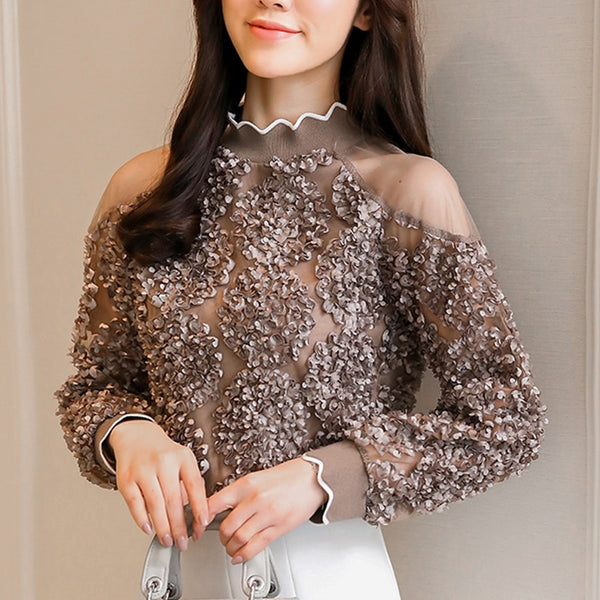 Coffee rose white women top 2019 Fashion Blouses Shirts autumn Spring long Sleeve Cold Shoulder Tops Causal Pleated Blusas 907G