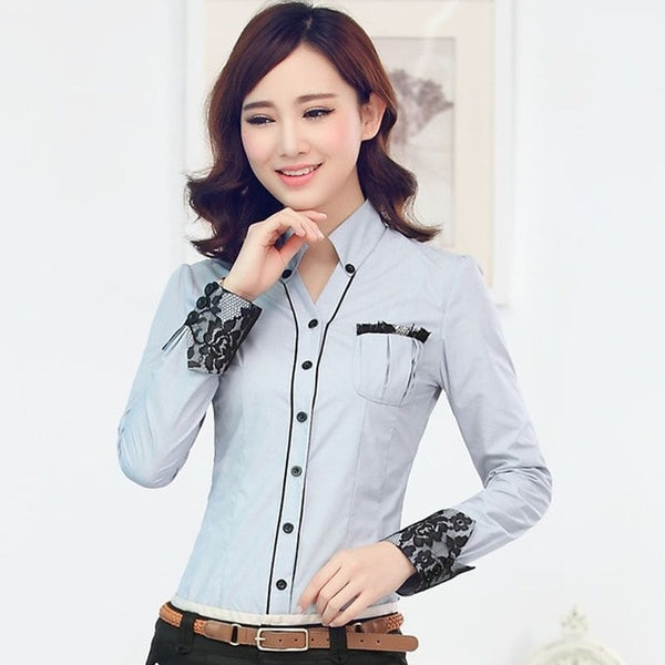 Formal women long sleeve shirt 2019 New slim elegant blouses shirts ladies white blue gray office work plus size clothes tops
