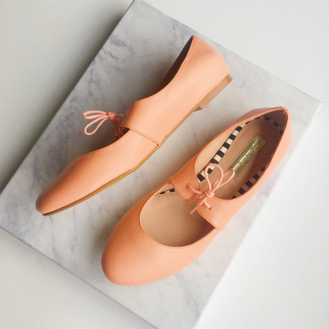 Flats de piel color peach - talla 5 mx