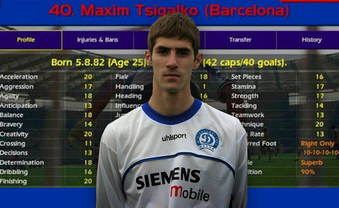 CHAMP MANAGER'S MAXIM TSIGALKO WAS A BELARUSIAN GOAL MACHINE