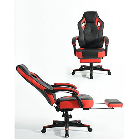 Computer Gaming Chair High-Back Racing Chair with Footrest and Reclining Backrest Ergonomic Design