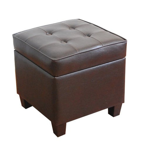 HomePop Leatherette Tufted Square Storage Ottoman with Hinged Lid