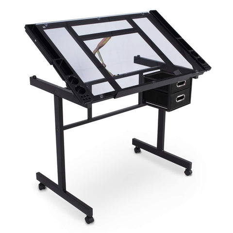 Belleze Adjustable Heavy Gauge Steel Craft Drawing Table w/Clear Glass Desktop and Sliding Drawers