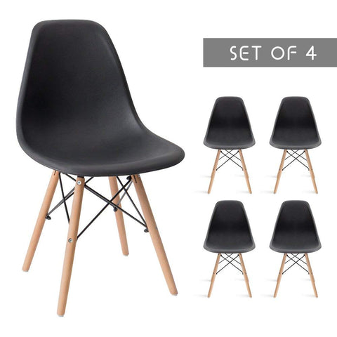 Devoko Mid Century Modern Style Dining Chairs DSW Pre Assembled Indoor Chair Armless Classic Shell Living Room Side Chairs Set of 4 (Black)
