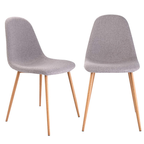 Giantex Dining Side Chairs Set of 2 Sturdy Metal Legs Wood Look Fabric Cushion Seat Back Home Dining Room Furniture Chairs Set