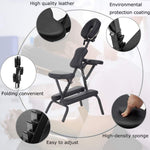 Massage Chair Portable Massage Chairs Tattoo Folding Chairs High-Density Sponge Height Adjustable Face Cradle Light Weight Travel Spa Seat W/Carring Bag (Black)