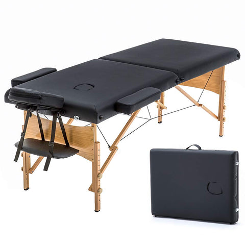 "New Black 73"" Portable Massage Table w/Free Carry Case Chair Bed Spa Facial"