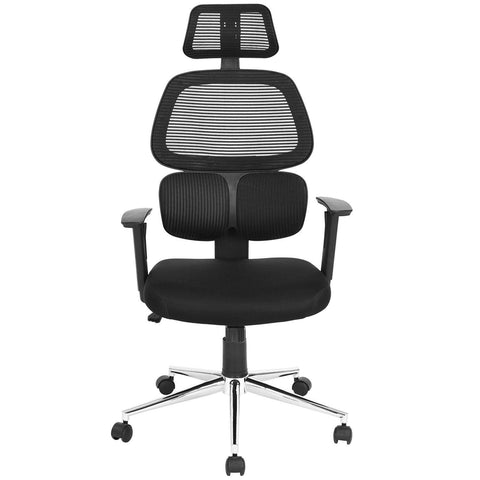 Coavas Ergonomic Office Chair Mesh Computer Desk Chair High Back Swivel Task Executive Chairs with Lumbar Support Adjustable Backrest Headrest Armrest Seat Height for Home Office Conference, Black