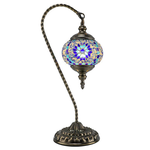 Mosaic Table Lamp Marrakech Swan Neck Handmade Turkish Mosaic Glass Desk Table Lamp Moroccon Tiffany Style Decorative Night Light for Living Room Bedroom