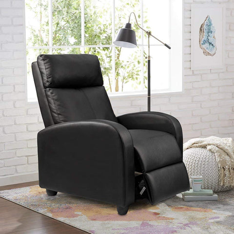 Homall Single Recliner Chair Padded Seat Black PU Leather Living Room Sofa Recliner Modern Recliner Seat Home Theater Seating (Black)