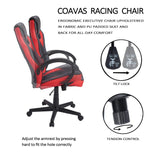 Coavas Computer Game Chair Gaming Racing Chair Office High Back PU Leather Executive Swivel Task Desk Chair(Black+ White)
