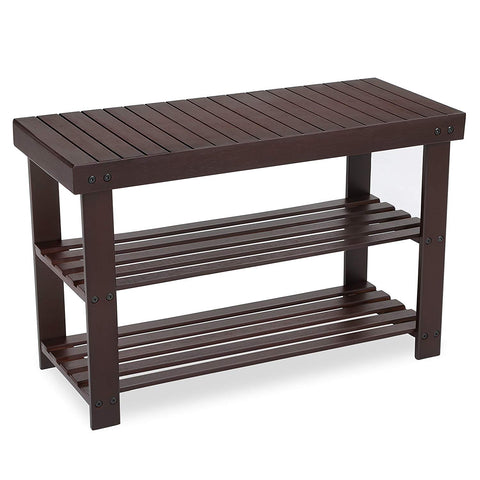 SONGMICS 3-Tier Bamboo Shoe Rack Bench