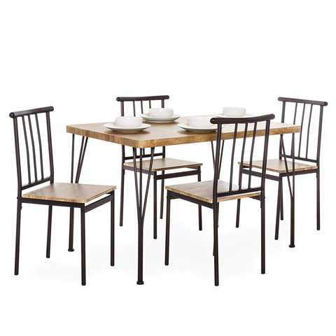 Best Choice Products 5-Piece Indoor Modern Metal and Wood Rectangular Dining Table Furniture Set for Kitchen