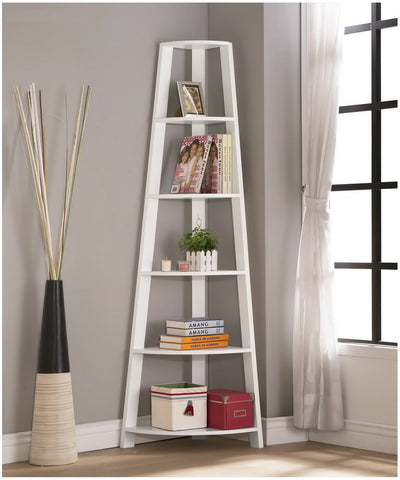 White Finish Wood Wall Corner 5-Tier Bookshelf Bookcase Accent Etagere